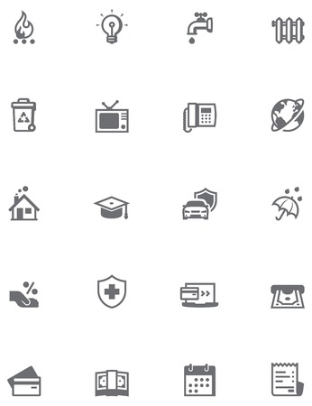 mortgage: Set of the bills to pay related icons Illustration