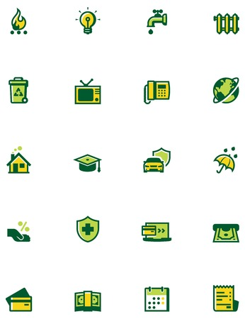 garbage collection: Set of the bills to pay related icons. Colors separated on different layers for ability to quickly change colors