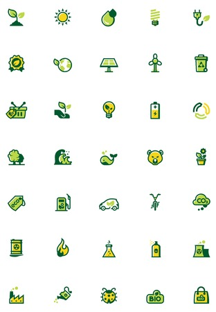 Set of the environmental icons. Colors separated on different layers for ability to quickly change colors Vector