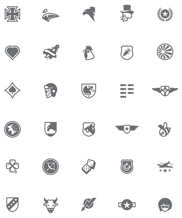 Set of the military emblems in World War 2 style Vector