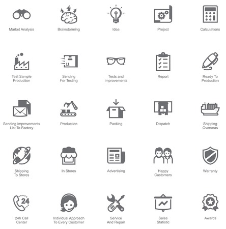 industrial icon: Set of the icons showing the way of goods from factory to customers Illustration
