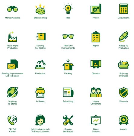 Set of the icons showing the way of goods from factory to customers. Colors separated on different layers for ability to quickly change colors