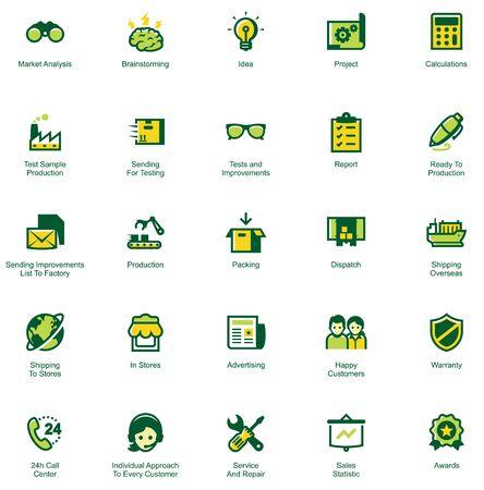 Set van de iconen die de manier van goederen van fabriek naar klant. Kleuren gescheiden op verschillende lagen voor het vermogen om snel te veranderen kleuren