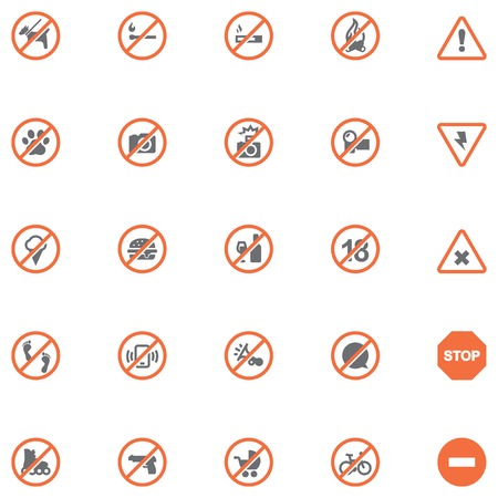 Set of the prohibition related icons
