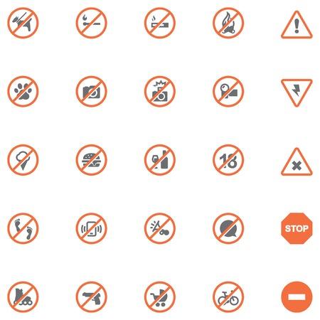 prohibido: Conjunto de los iconos de prohibición relacionadas