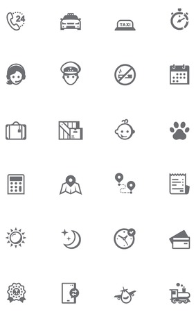 Set of the taxi related icons.