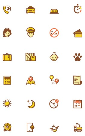 fare: Set of the taxi related icons. Colors separated on different layers for ability to quickly change colors