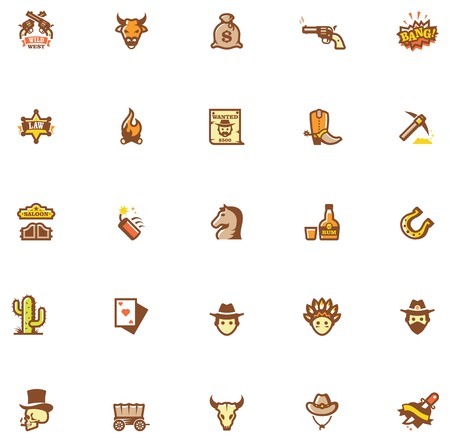 gunfighter: Set of the Wild West related icons. Colors separated on different layers for ability to quickly change colors