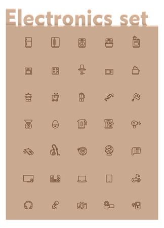 game meat: Set of the home electronics and appliances related icons Illustration