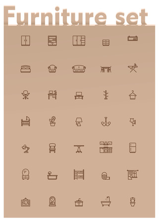 Set of the home furniture and decoration related icons Vector