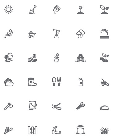 gardening hose: Set of the gardening related icons