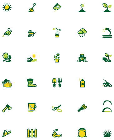 Set of the gardening related icons Vector