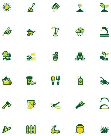 Set der Gartenarbeit verbundene Symbole