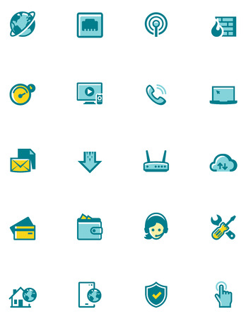 iptv: Set of the internet service provider related icons