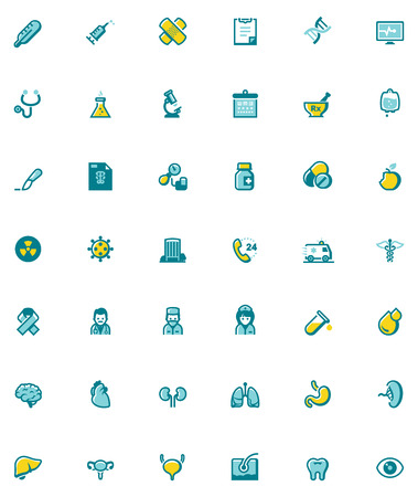 related: Set of the healthcare related icons Illustration