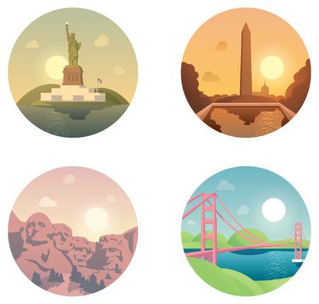 우리 주변의 여행 세트 관련 아이콘 일러스트