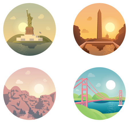 Set of the traveling around US related icons