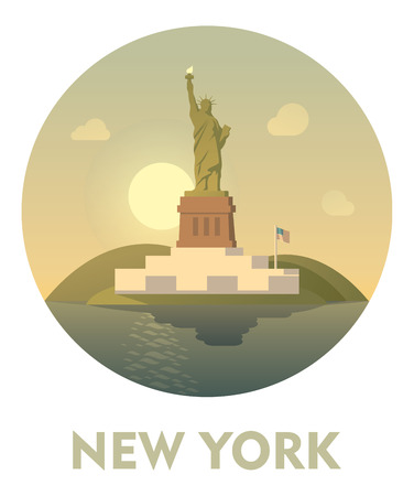 visit us: Vector icon representing New York as a travel destination
