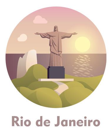 corcovado: Vector icon representing Rio de Janeiro as a travel destination Illustration