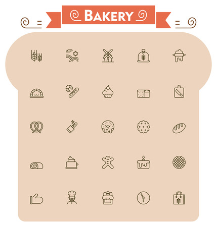 bread roll: Set of the bread and bakery related icons