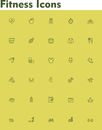 treadmill: Set of the fitness and sport related icons