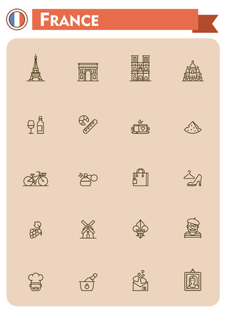 shopping champagne: Set of the France traveling related icons