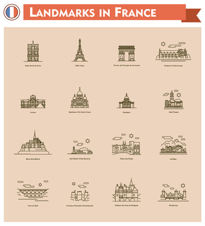 Set of the France traveling related icons Vector