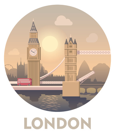 london tower bridge: Vector icon representing London as a travel destination Illustration