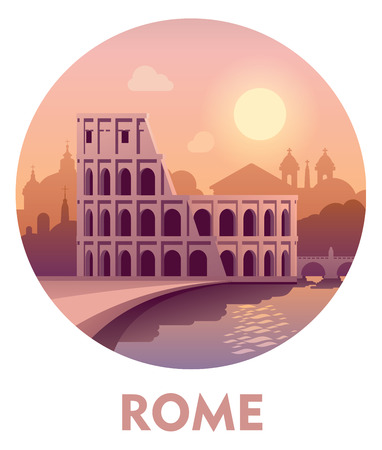 pantheon: Vector icon representing Rome as a travel destination Illustration