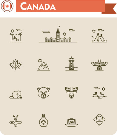 hockey: Set of the Canada traveling related icons Illustration