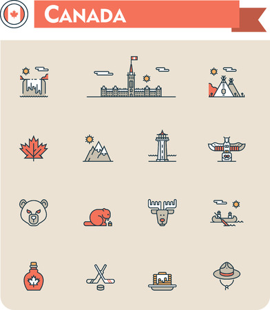 wigwam: Set of the Canada traveling related icons Illustration