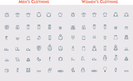 Set of the men and women clothing Stock Illustratie