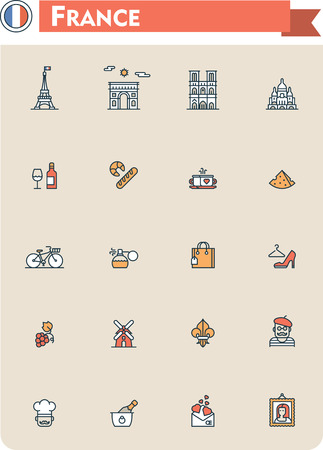 coeur: Set of the France traveling related icons