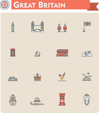 red telephone box: Set of the Great Britain traveling related icons