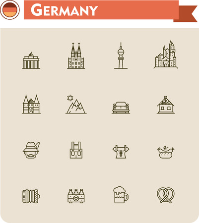 bratwurst: Set of the Germany traveling related icons Illustration
