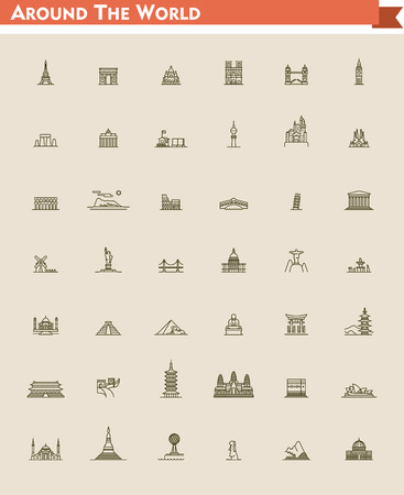 symbol tourism: Set of the global landmarks and travel destinations Illustration
