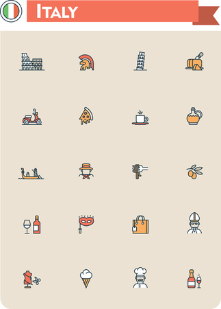 pizza place: Set of the Italy traveling related icons