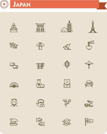 Ajuste del Japón viajando iconos relacionados Vectores