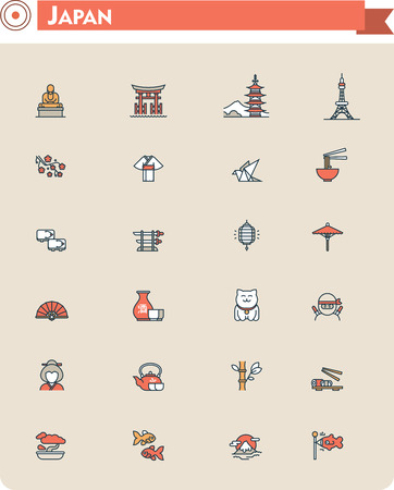 bouddha: Ensemble de l'Japon voyager icônes liées