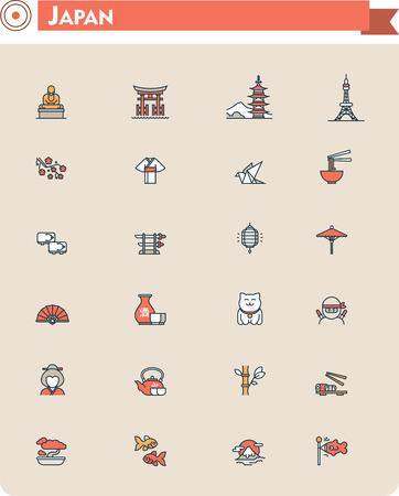 maneki neko: Set of the Japan traveling related icons Illustration