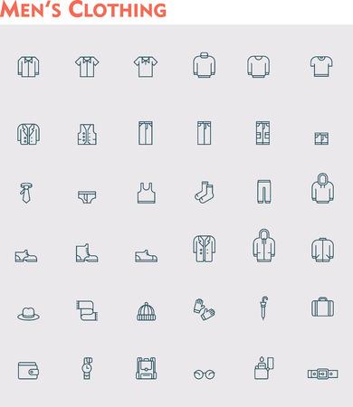 Set van de mannen kleding pictogrammen Stock Illustratie
