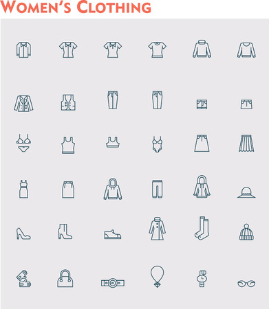 leather pants: Set of the women clothes icons