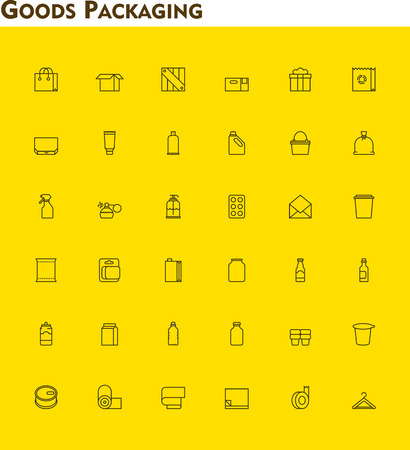 a tablet blister: Set of the packaging  related icons