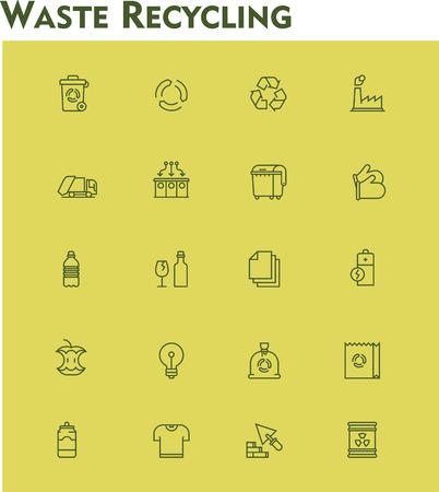 ゴミの分別とリサイクル関連アイコンのセット