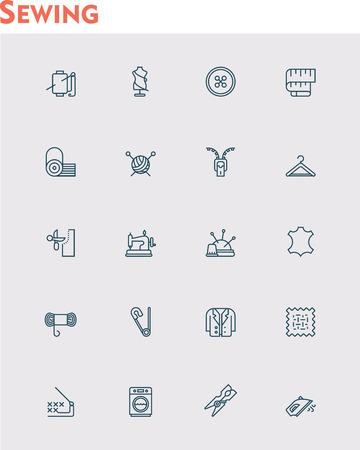 maquinas de coser: Conjunto de la costura y de la costura iconos relacionados Vectores