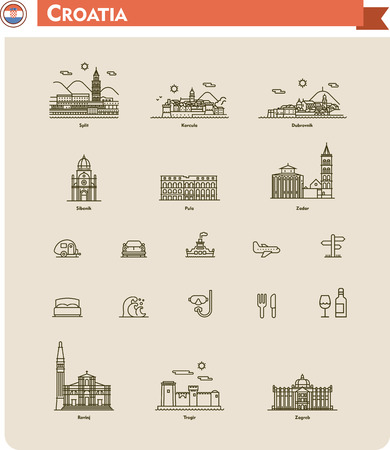 Set of the Croatia  traveling related icons