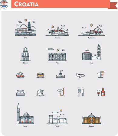 Set of the Croatia  traveling related icons Vector