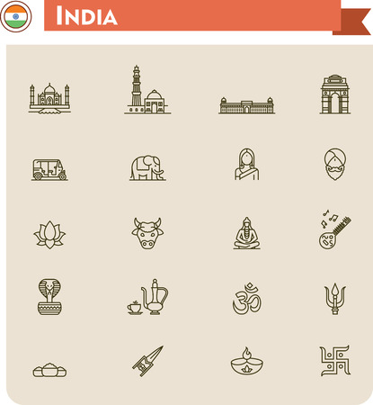 religious music: Set of the India traveling related icons