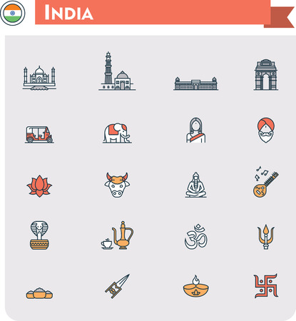 hinduismo: Conjunto de la India viajando iconos relacionados Vectores
