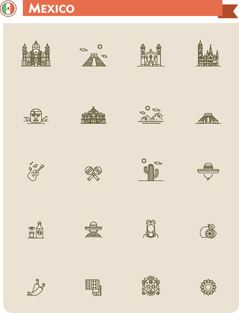 pyramid of the sun: Set of the Mexico traveling related icons
